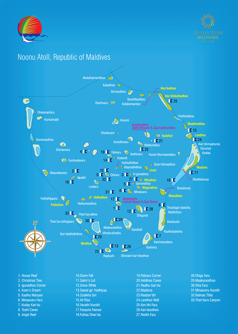 The Sun Siyam Iru Fushi Dive Map